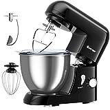 COSTWAY 1300W Küchenmaschine 4L Knetmaschine, Rührmaschine 6 Stufen, Teigmaschine mit Edelstahl Rührschüssel, Knethaken, Schneebesen und Rühr-/Schlagbesen (Schwarz)