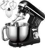 Küchenmaschine, Aicok 5L Weniges Geräusch Knetmaschine mit Doppelten Knethaken, Rührbesen, Knethaken, Schlagbesen, Spritzschutz, 6 Geschwindigkeit mit Edelstahlschüssel Teigmaschin (schwarz)