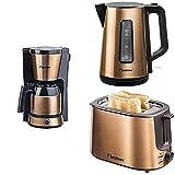 Bestron Kaffeemashine mit Kanne für 8 Tassen Kaffee + Bestron Wasserkocher (1,7 Liter) + Bestron Toaster mit 2 Röstkammern, In Kupfer Optik