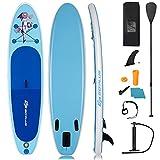 COSTWAY 305 x 76 x 15cm Stand Up Paddling Board, SUP Board aufblasbar, Paddelboard mit Sicherheitsleine, Paddel, Pumpe, Center Finne, Rucksack und Reparaturset (Blau)