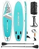 MaxKare SUP Aufblasbares Stand-up-Paddle-Board mit Prämie des Aufblasensurfboards & Bidirektionale Pumpe & Faltbares Paddle & Rucksack Tragbar für Kinder Erwachsene Anfänger Spaß
