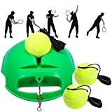 Fostoy Tennis Trainer, Tennistrainer Set Trainer Baseboard mit 3 Rebound Ball, Selbststudium Übungs-Trainingswerkzeug Tennistrainingsausrüstung für Solotraining Erwachsener Kinder Anfänger (Grün)