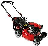 Grizzly Tools Benzin-Rasenmäher mit Hinterradantrieb - 4-Takt Motor 1,9 kW 2,6 PS - 42 cm Schnittbreite 6-fach Höhenverstellung - Wasserschlauchanschluss - Stahlgehäuse
