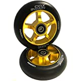 Cox Swain 2 STK. X-385 High End 100mm Stunt Scooter Rollen Alu Core - ABEC 11 Lager, Black/Gold
