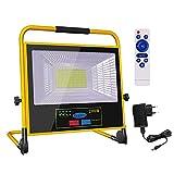 50W LED Baustrahler Arbeitsleuchte LED Solarleuchte mit Stecker IP66 Wasserdicht Wiederaufladbares LED Baulampe Camping Licht Tragbar Akku Strahler für Werkstatt Baustelle Garage (50W)