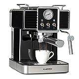 Klarstein Gusto Classico Espressomaker Espressomaschine Siebträgermaschine, Siebträger Kaffeemaschine 1350 W, 20 Bar Druck, Volumen Wassertank: 1,5 L, abnehmbares Tropfgitter aus Edelstahl, schwarz