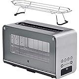 WMF Lono Toaster Glas mit Brötchenaufsatz, 2 Scheiben, XXL, motorisierte Toastaufnahme, Aufwärm-Funktion, 7 Bräunungsstufen, Toaster edelstahl matt