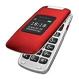 Easyfone Prime-A1 GSM 3G Seniorenhandy Klapphandy ohne Vertrag, Großtasten Mobiltelefon Einfach und Tasten Notruffunktion | Hörgeräte kompatibel(HAC) | Taschenlampe und Ladestation (Rot)