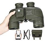 QUNSE BAK4 Nautisches Fernglas 10x50, mit entfernungsmesser - Entfernungsmessen mit dem Kompass, großes Objektiv für weites Feld (Dunkelgrün)