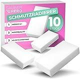 SAUBERHERO Schmutzradierer - Großes 10er Set - Wunderschwamm vielseitig einsetzbar - Zum wegradieren von Schmutz auf Wänden, Schuhen, Auto Innenraum, etc. - Keine Chemie nötig!