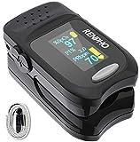 RENPHO Pulsoximeter, Oximeter Fingerpulsoximeter zur Messung der Sauerstoffsättigung SpO2 PI und des Puls mit Alarm Funktion, Pulsoximeter mit OLED-Display und Trageband für Erwachsene