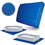 tillvex Pool Bodenplane 396 x 396 cm quadratisch für Pools bis Ø 366cm   Poolunterlage UV-Stabil & reißfest   Bodenschutzplane Swimmingpool