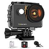 Yolansin Action Cam 4K 60FPS 20MP WiFi 40M wasserdichte Unterwasserkamera EIS Sportkamera mit 170 ° Weitwinkel HD DV Camcorder mit 2.4G Fernbedienung Helmkamera 2x1350mAh Akkus und vielen Zubehör Kit