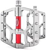 CXWXC Fahrradpedale 9/16', rutschfeste Fahrradpedal Mountainbikes Plattformpedale Aluminiumlegierung Flat 3 Sealed Bearing Axle für MTB BMX Bikes Rennradfahren (Titan)
