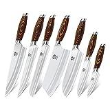 WILDMOK 7-teiliges Küchenmesserset mit Premium-Pakkawood-Griff Deutsches Stahlmesserset Inklusive Hackmesser-Kochmesser Santoku-Messerset(7-teilig Küchenmesser Set)