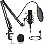 USB Mikrofon, Professionelles Mikrofon mit T20 Verstellbarem Ständer, 192kHZ/24bit PC Laptop Kondensator Mikrofonsets, Popfilter für Aufnahme, Podcasting, Voice-Over, Streaming, Heimstudio, YouTube