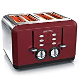 Arendo - Automatik Toaster 4 Scheiben - Edelstahlgehäuse - bis zu vier Sandwich und Toast-Scheiben - Bräunungsgrad 1-6 - Aufwärm- und Auftaufunktion - Krümelschublade - GS-zertifiziert - rot