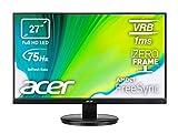 Acer KB272HLHbi 27' FreeSync Monitor VA FHD, 75Hz, 1ms, 16:9, VGA, HDMI, PC-Bildschirm mit Kontrast 100M:1, Lum 250cd/m2, Zero Frame, VGA-Kabel inklusive