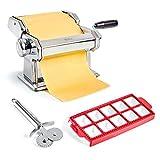 Uno Casa Pasta Maker – Nudelmaschine Manuell – Pasta Maschine mit Pasta Cutter und Ravioli Ausstecher
