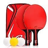 Zorara Tischtennisschläger Set, Tischtennis Set mit 2 Schläger 3 Tischtennis-Bälle, Ping Pong Set mit Schlägerhülle, Tischtennis Schläger