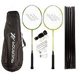 Rucanor Match 250 Badminton Set, 2 Badminton Schläger, 2 Federbällen, Inklusiv Netz und Aufbewahrungstasche, für Kinder und Erwachsene