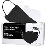 wellsamed wellsamask medizinischer Mundschutz BLACK mit Gummizug, Mund und Nasenschutz, OP-Maske Einweg, 50 Stück, Schwarz, CE / EN 14683 Typ IIR (Typ 2R) 3-lagig