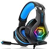 Gaming Headset für PC PS4 Xbox One, 7 Farbe RGB-LED Licht, Surround Sound Gaming Kopfhörer mit Mikrofon für Laptop Mac Handy Tablet