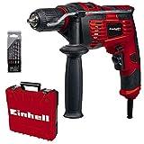 Einhell Schlagbohrmaschinen-Set TC-ID 720/1 E Kit (720 W, Bohren/Schlagbohren, 13 mm-Schnellspannbohrfutter, Drehzahl-Elektronik, inkl. 5-tlg. Bohrer-Set für Beton + E-Box Basic)