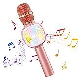 NASUM bluetooth Mikrofon mit LED Laternenpfahl, wunderschön Beleuchtung und Lautsprecher, Tragbares drahtloses Karaoke Mikrofon, kompatibel mit Android, IOS, PC oder Alle Smartphone (Rosegolden)