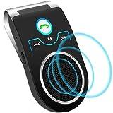Aigoss Auto Kfz Freisprecheinrichtung Bluetooth Visier Car kit, Unterstützt Siri/Google Assistent/Musik/Freisprechanrufe, 2 Telefone Gleichzeitig - Schwarz