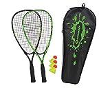 Schildkröt Speed-Badminton Set, 2 handliche Aluminium-Rackets, Länge 54,5cm, 3 windstabile Bälle, perfekt geeignet für ein windstabiles und schnelles Federball, wertige Tasche, grün-schwarz, 970905