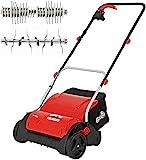 Grizzly Tools Elektro Vertikutierer EV 1201 Set mit Fangsack, Lüfterwalze - Elektrischer Rasenlüfter zur Gartenpflege