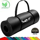Movit Pilates Gymnastikmatte, Yogamatte, phthalatfrei, SGS geprft, 183 x 60 x 1,0cm, Yoga Matte in Schwarz