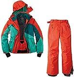 Crivit Damen Skianzug Schneeanzug Skijacke Skihose 2 Teilig Rot Grün Wasserabweisend (M-2, 40)