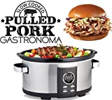 Gastronoma 18280000 Digitaler Pulled Pork Slow Cooker Schongarer, 6,50 Liter, 315 Watt, Edelstahl,