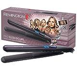 Remington Glätteisen Pro Sleek & Curl (abgerundetes Design -ideal zum Glätten & Stylen von Locken und Wellen, hochwertige Ultra-Turmalin-Keramikbeschichtung) LCD-Display, 150-230°C, Haarglätter S6505