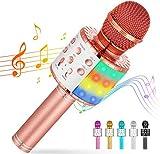 Cvozo Karaoke Mikrofon, Drahtloses Bluetooth Mikrofon für Kinder, Lustige Geschenke Spielzeug für Teenager Mädchen Jungen, Tragbares KTV Lautsprecher Recorder für iPhone/Android/ios/PC