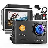 APEMAN 4K Action Cam 20MP WiFi Unterwasserkamera 40M Wasserdicht mit EIS, 2.4G Fernbedienung und Externes Mikrofon