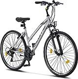 Licorne Bike Premium Trekking Bike in 28 Zoll - Fahrrad für Jungen, Mädchen, Damen und Herren - Shimano 21 Gang-Schaltung - Mountainbike - Crossbike - Life-L-V - Grau/Schwarz