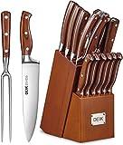 Deik Messerblock Set   Messerset   16-TLG Messer mit Holzgriff   Edelstahl Kochmesser Set mit Holzblock   Profi Küchenmesser mit Wetzstahl