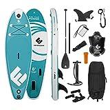 FitEngine Stand-Up-Paddle-Board Komplett-Set | Allrounder Trip SUP inkl. Action-Cam-Halterung, aufblasbares Drybag, wasserdichte Handyhülle | 244 cm (8') Junior Allrounder