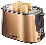 Bestron Toaster mit 2 Röstkammern, Krümelschublade und Brötchen-Röstaufsatz, 1.000 W, Edelstahl in Kupfer-Optik