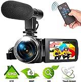 Videokamera 2,7K Camcorder YouTube Kamera für Videos 30MP Digitalkamera Videokamera mit Mikrofon und Fernbedienung
