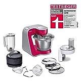 Bosch MUM5 CreationLine Küchenmaschine MUM58420, vielseitig einsetzbar, große Edelstahl-Schüssel (3,9l), Mixer, Durchlaufschnitzler, 1000 W, Rot Diamond/Silber