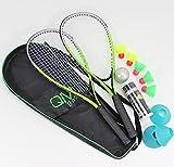 QMBasic Turbo Badminton Set + 5 Speed Balls | Rapid Federball Schläger Highspeed | mit Spielfeld Begrenzung Hütchen