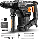 Bohrhammer, TACKLIFE 1500W 7J Abbruchhammer mit SDS-Plus und 4 Funktionen in 1, 4350BPM und 900RPM, Anti-Vibrationen am Griff und Sicherheitskupplung, Bohrdurchmesser in Beton max: 32mm - TRH01A