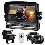 Dual-Rückfahrkamera-Set mit 7' TFT LCD Kfz-Monitor & Zwei 170° Weitwinkel- Rückfahrkameras, IP68 wasserdicht, 18IR Nachtsicht, für LKW/Anhänger/Bus/Van/Landwirtschaft(12-24 Volt)