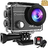 Crosstour Action Cam 4K 20MP WiFi Fernbedienung und Externes Mikrofon EIS Helmkamera Unterwasser 40m Wasserdicht
