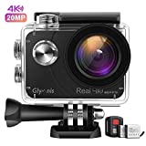Glymnis Action Cam Echte 4K 20MP Sport Action Kamera Touchscreen EIS Actioncam 40M Wasserdicht Unterwasserkamera WiFi Fernsteuerung Helmkamera Full HD mit 2 1350mAh Akkus und 27 Zubehör