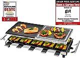 ProfiCook PC-RG 1144 Raclette/Tischgrill mit Naturgrillstein und Wendegussplatte, 10 Pfännchen, 10 Holzspatel, 1700 W